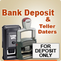 Order Bank Deposit Stamps & Teller Ink Stamps. Custom Trodat Ideal 80 4912, 100 4913 and 5204 Professional Stamps right here easy and fast. In by 4 out by next day.