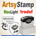 MaxLight 4747 Pre Inked Artsy Art Stampers and Trodat 4924 Artsy Self Ink Stamps have unlimited possibilities. These Inked Rubber Stamps offer exceptional impression quality. Orders in by 4 PM Central are out the next morning usually.