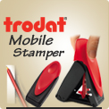 Trodat 9411, 9412, 9413, 9425 and 9430 Mobile Value Stamp is design for your pocket, your purse or your briefcase. One pinch and it opens. 1 Million sold.