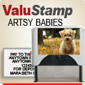 Order creative artistic Deposit or Address Stamps here with a clear wrap image over the top of the stamper. Creates a nice difference on your desk top. Stamper prints your Bank Deposit or Address in black ink.