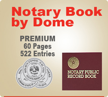 Premium  Notary Record Book (Journal) by Dome - 60 Pages, 522 separate entries..  Record Book also offers space for a thumbprint.