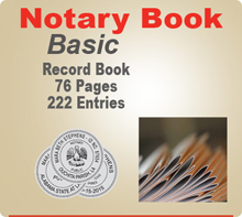 Basic Notary Record Book (Journal) - 76 Pages, 222 separate entries. Allows the option of recording three notarial acts per entry, for multiple signings with the same signer.  Record Book also offers space for a thumbprint.