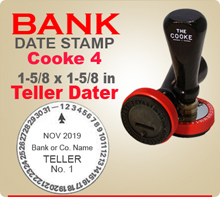 Cooke No. 4 Rotary Bank Teller Dater is popular with banks because has no rotating bands to wear out. Cooke No. 4 is designed for hard and arduous use.