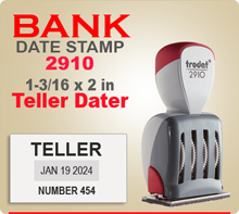 The Trodat 2910 Non Self Inking Teller has a 1-3/16 x 2 inch impression area. This Trodat 2910 Bank Teller Dater has at least 10 years of future dates.