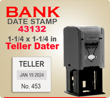 Trodat 43132 BankTeller Dater stamp is a Self Inking Dater with 1-1/4 x 1-1/4 inch impression area. Trodat Printy 43132 Daters are perfect for Tellers.