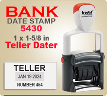 Trodat 5430 Professional Bank Teller Daters have an Imprint area of 1 x 1-5/8 inches. This Trodat 5430 Bank Teller Dater has a sturdy steel frame.