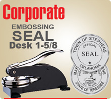 "Shown here is an Ideal M Corporate Embossing Seal Desk Model 1-5/8"". Beautifully crafted and finished in black."