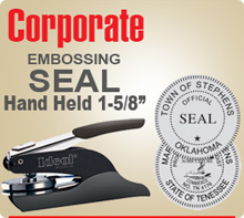 "Shown here is an Ideal M1 Corporate Embossing Seal Hand Held 1-5/8"". A special storage pouch is provided with this Corporate Seal Embosser."