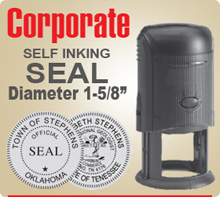 Shown here is a Trodat 4642 Self Inking Corporate Seal in a 1-5/8 inch diameter. Beautifully crafted by Trodat.