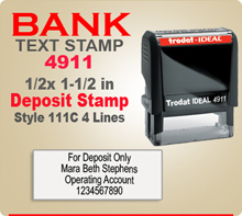 Trodat Ideal 50 4911 Bank Deposit Ink Stamp 111C 4 Lines. This Trodat Ideal 50 4911 Rubber Ink Stamp has a 1/2 x 1-1/2 inch imprint area. Trodat Ideal 50 4911 Ink Stamps makes a very good Bank Deposit Endorsement Stamp.