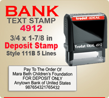 Trodat Ideal 80 4912 Bank Deposit Ink Stamp 111B 5 Lines. This Trodat Ideal 80 4912 Rubber Ink Stamp has a 3/4 x 1-7/8 inch imprint area. Trodat Ideal 80 4912 Ink Stamps makes a very good Bank Deposit Endorsement Stamp.