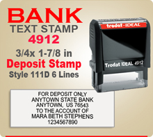 Trodat Ideal 80 4912 Bank Deposit Ink Stamp 111D 6 Lines. This Trodat Ideal 80 4912 Rubber Ink Stamp has a 3/4 x 1-7/8 inch imprint area. Trodat Ideal 80 4912 Ink Stamps makes a very good Bank Deposit Endorsement Stamp.