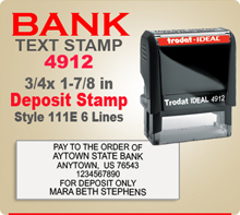 Trodat Ideal 80 4912 Bank Deposit Ink Stamp 111E 6 Lines. This Trodat Ideal 80 4912 Rubber Ink Stamp has a 3/4 x 1-7/8 inch imprint area. Trodat Ideal 80 4912 Ink Stamps makes a very good Bank Deposit Endorsement Stamp.