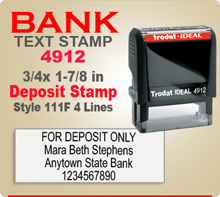 Trodat Ideal 80 4912 Bank Deposit Ink Stamp 111F 4 Lines. This Trodat Ideal 80 4912 Rubber Ink Stamp has a 3/4 x 1-7/8 inch imprint area. Trodat Ideal 80 4912 Ink Stamps makes a very good Bank Deposit Endorsement Stamp.