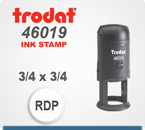 Trodat 46019 Round Printy Self Inking Rubber Stamp for use as an inspection stamp. This Trodat Printy 46019 has a 3/4 inch die plate with 5/8 print area.