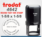 Trodat 4642 (46040) Round Printy Self Inking Rubber Stamp for placement of a full logo or seal. This Trodat Printy 4642 has a 1-5/8 inch diameter impression area.