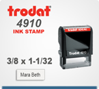 Buy this Trodat Printy 4910 Self Inking Rubber Stamp. The print area is 3/8 inch by 1 inch. Order today by 4 pm central and ships tomorrow