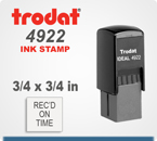 Trodat Printy 4922 Inspection size Rubber Ink Stamp. The 4922 is a 3/4 inch by 3/4 inch square. Order this inspection stamp by 4 pm central time and it ships in 1 day.