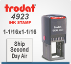 Trodat Ideal 4923 Rubber Stamp has a Square Imprint Area. Copy space is a 1-1/16 by 1-1/16 inches. The Trodat Ideal 2923 ships in 24 hours