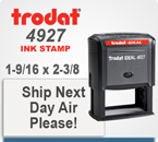 Trodat Printy 4927 Customized Rubber Ink Stamper. Presents a 1-1/2 inches  by 2-3/8 inches customization area. This Printy 4927 is shipped in 1 day when order is placed by 4 pm central.