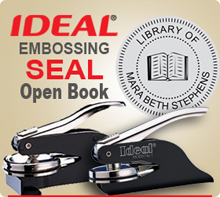 Order a 1-5/8 inch Embossing Seal, Custom with Open Book in Center. Design allows for a Individuals Name or Company name around the outer circle.