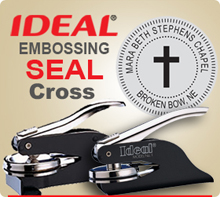 Order 1-5/8 inch Embossing Seal, with Solid Cross in Center. Design allows for a Individuals Name or Company name in the outer circle.