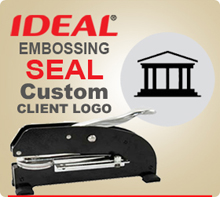 Embossing Seal Custom Long Reach Seal. For Custom Logo Embossing. This Seal has much more pressing pressure than normal desk seals. Before you order this item email a TIFF File to customercare [at] insigniah.com and let us examine it