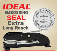 Embossing Seal With Extra Long Reach Clip. This Embossing Seal has the capability of embossing to the middle of an 8-1/2 by 11 inch sheet of paper if embossed from the left or right side.