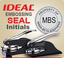 Order 1-5/8 inch Embossing Seal here. Choose your initials in the center or a four letter word like SEAL.