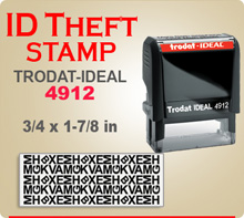 Trodat Ideal 80 4912 ID Theft Stamp. This Trodat Ideal 80 4912 ID Theft Ink Stamp has a 3/4 x 1-7/8 inch imprint area. This Stamp is designed to print over Addresses, Phone Numbers, Bank Account Numbers, etc.