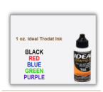 Order 1 oz. size Ideal Trodat Rubber Stamp Pad Ink. It replaces the older 6cc size. It is a water based ink for Ideal Trodat Rubber Stamps.