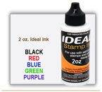 Order 2 oz. size Ideal Trodat Rubber Stamp Pad Ink here. Works in many self inking stamps. It is a water based ink for Ideal Trodat Rubber Stamps.
