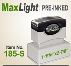 MaxLight 185 Pre Inked Rubber stamp offers the user a durable rugged printing impression, superior imprint quality, over four times the ink and many colors. Order your MaxLight 185 Today for quick ship. Accepts 5 Lines.