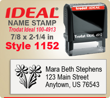 Order your individualized Name Inked Stamp Rubber Stamps here. Choose a design that you like, enter your personal address city state zip. Tell us the desired ink color and we'll get you stamp usually in 24
