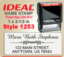 Order unique and creative Name Stamp Rubber Stamps here. Choose a layout that you like, enter your personal address city state zip. Select ink color and we'll have your creative ink stamp done in a snap.