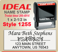 Buy creative Name Stamp Rubber Ink Stamps here. Choose a look that you like, enter your personal address city state zip. Check the button for your desired ink color and we'll have your ink stamp made q