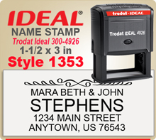 You will vend creative Name Stamp Rubber Stamps at this site. Choose a size and style that you like, enter your personal address city state zip. Choose your desired ink and we'll have you stamp on the way i