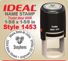 You have found a neat site for creative Name Stamp Rubber Stamps. Choose a design style that you like, enter your personal address city state zip. Tell us your desired ink color and we'll get to work your