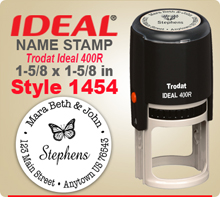 Get customized and creative Name Stamp Rubber Stamps at this web site. Choose a look that you like, enter address city state zip. PIck a desired ink and we'll get your Ink Stamp out right away.
