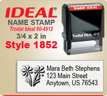 Order unique and creative Name Stamp Rubber Stamps here. Choose a style that you like, enter your personal address city state zip. Give us your desired ink color and we'll get to work your Ink Stamp right away.