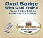 Custom Imprinted Full Color Oval Valu Badges. This Color Oval Name Badge has a Gold Frame around it that is 1-7/8 x 2-3/4 inch. The actual imprint area is 1-9/16 x 2-3/8.