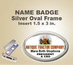 Custom Imprinted Full Color Oval Valu Badges. This Color Oval Name Badge has a Silver Frame around it that is 1-7/8 x 2-3/4 inch. The actual imprint area is 1-9/16 x 2-3/8.