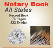 Notary Recordbook (Journal) - 76 Pages, 222 separate entries. Allows the option of recording three notarial acts per entry, for multiple signings with the same signer. Great for notary signing agents! Recordbook also offers space for a thumbprint.