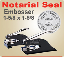 Ideal Embossing Notary Seal Hand Held Model. 1-5/8 inch in diameter raised, embossed image.