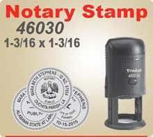 Trodat 46030 Notary Seal Stamp is 1-3/16 inch Round. It is a Self Inking Rubber Stamp.