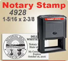 Trodat Ideal 4928 Notary Stamp for Ohio Notaries Pre Inked and Ready to use. These Notary Stamps are extremely durable stampers. We offer a variety of Notary Stamps and other Notary items