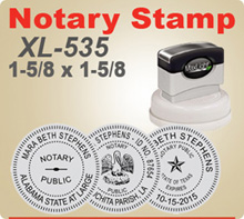 MaxLight XL-535 Round Notary Stamp. This Notary Stamp makes a very vidid imprint as it is made similar to an offset printing plate. Order by 4 pm and ships next day.