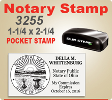 Insigniah Slim 3255 Notary Stamp for Ohio Notaries Pre Inked with Seal. This notary is compact and fits well in a purse or briefcase.