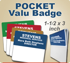 Custom Engraved Folded Pocket Badge. This Pocket Valu Badge size is 1-1/2 x 3 inches. Choose from many background and letter colors.