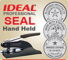 Ideal Embossing Professional Seal Hand Held 1-5/8 inch in diameter. This is an Ideal Seal Hand Held model used by Professionals everywhere. Order today.